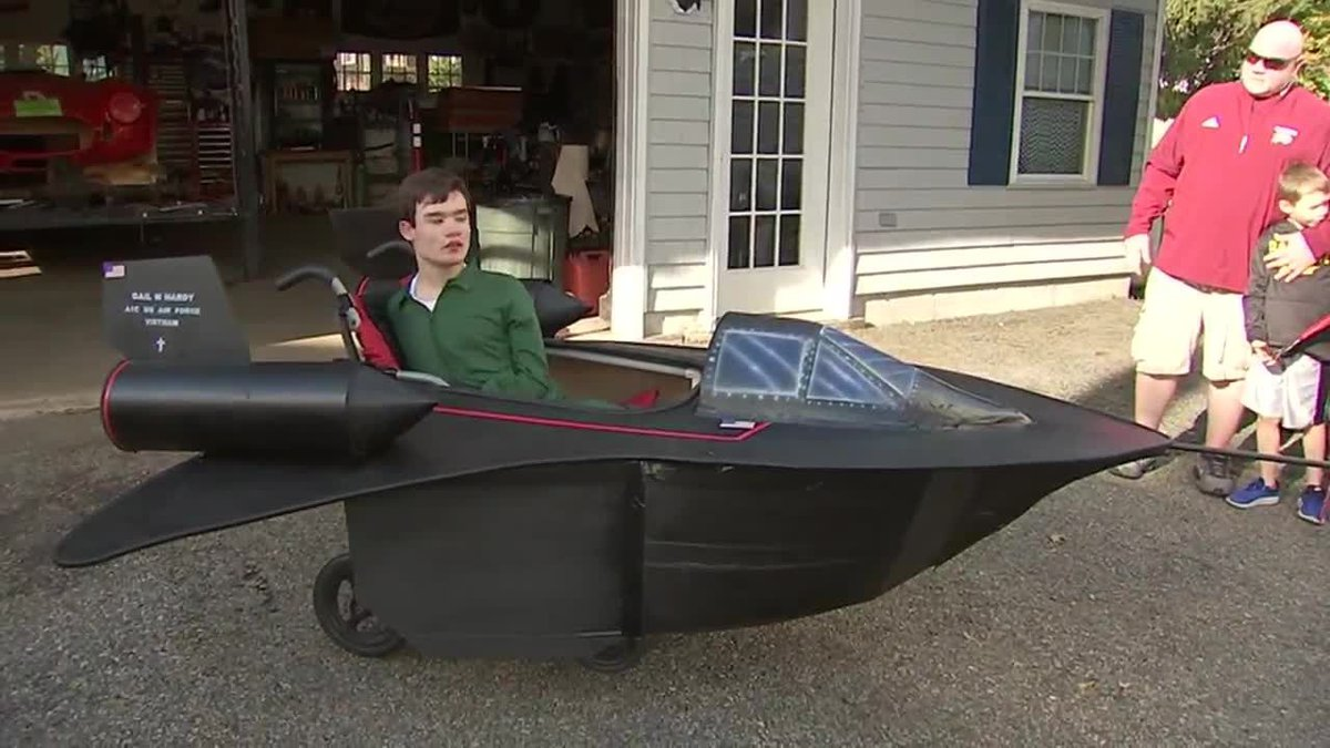 Massachusetts dad makes an Air Force fighter jet for son's Halloween costume. (Source: WFXT,...