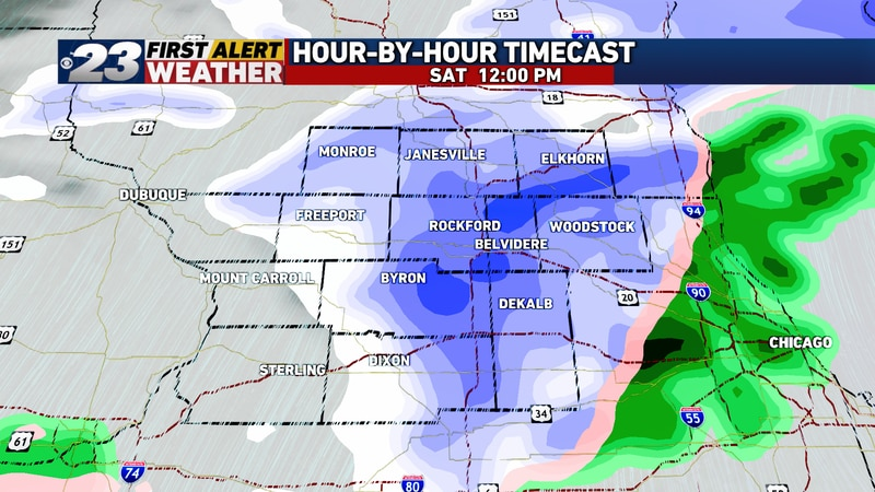 Mid-day Saturday will likely see a burst of heavier snowfall rates in spots.