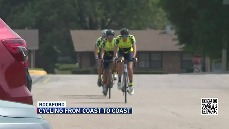Fraternity cycling coast to coast stops in Rockford