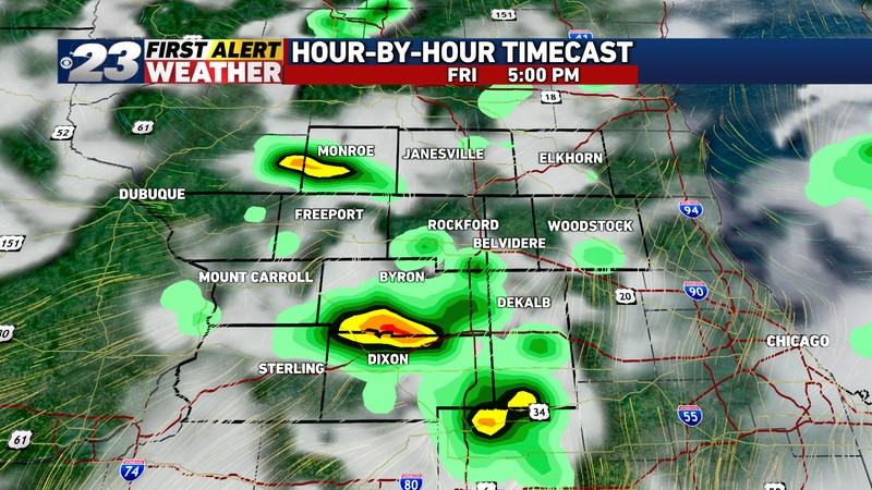 A few storms may persist into the very early evening hours Friday.