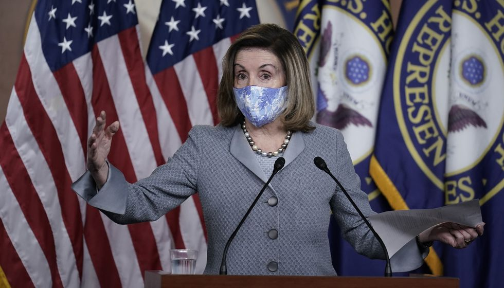 Speaker of the House Nancy Pelosi, D-Calif., holds a news conference at the Capitol in...