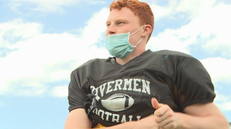 Du-Pec's Kaden Degner puts on his pads for practice. The sophomore is back on the field after...