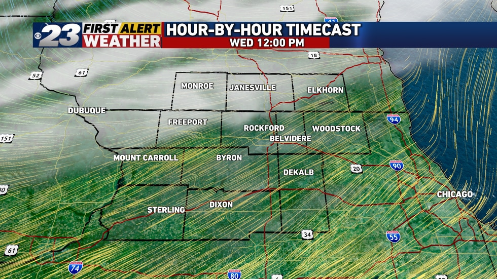 Wednesday's to start on a quiet, sunny note, with southwest winds ushering in warmth once again, but by midday, clouds will begin  to filter into the area ahead of our cold front.