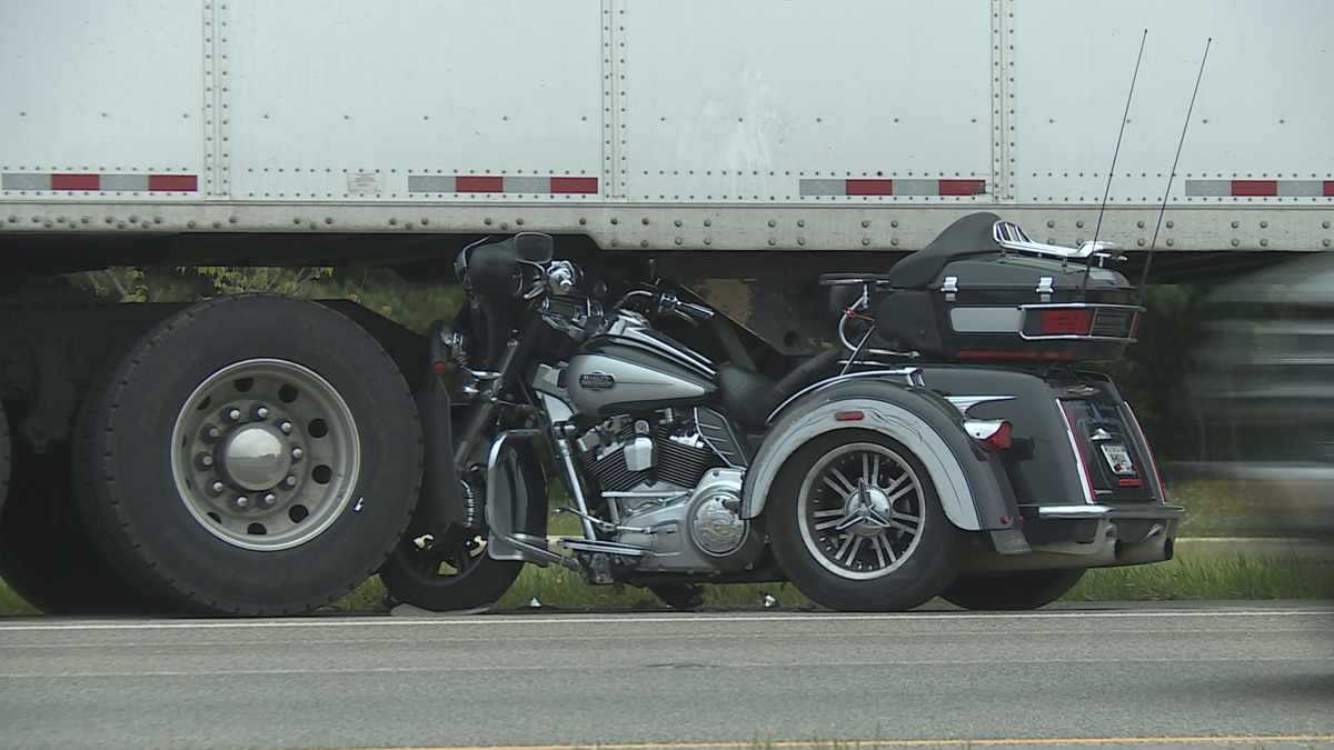 One man is thrown from his motorcycle Saturday afternoon on Interstate 39 in Cherry Valley.