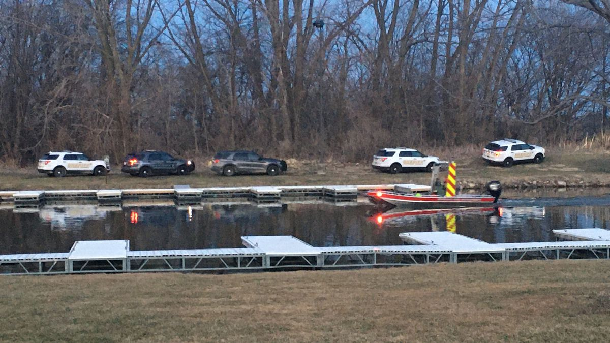 There is a large police presence at Oppald Marina off of Stouffer Road in Sterling Saturday...