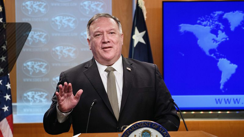 Secretary of State Mike Pompeo speaks during a news conference at the State Department in...
