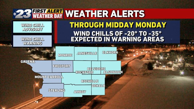 A Winter Weather Advisory or Wind Chill Warning covers the entire area through Noon Monday.