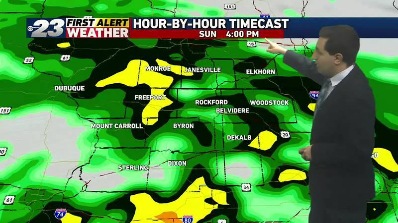 Heavy rains in spots on Sunday