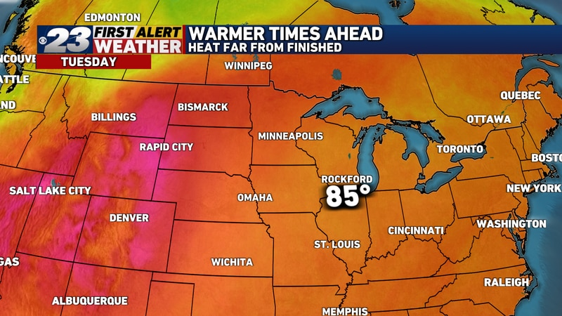 We'll start our warming trend on Tuesday, as we reach the middle 80s.