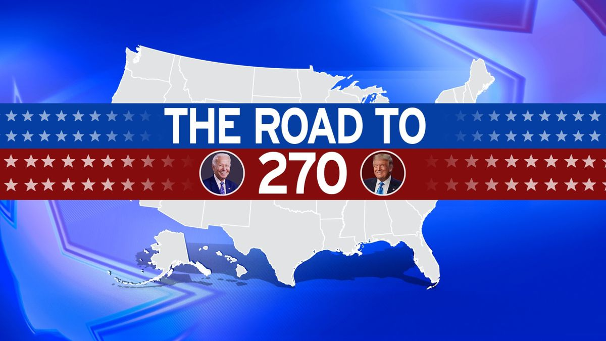 US map with THE ROAD TO 270 lettering and Joe Biden and Donald Trump headshots.