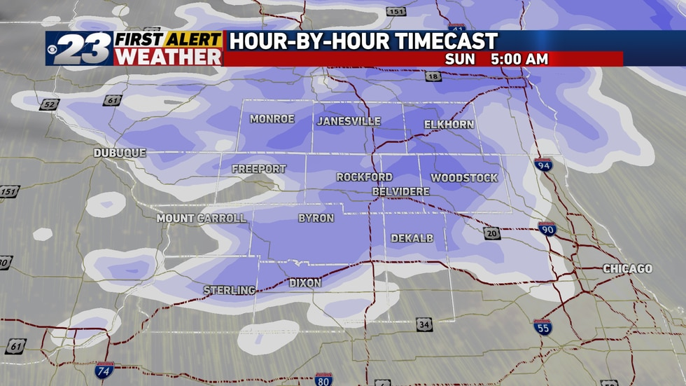 Snow will begin tapering off as we get into Sunday morning.
