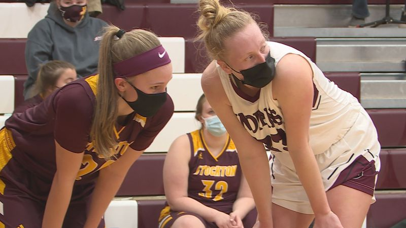 Stockton's Tiana Timpe and Dakota's Tabytha Toelke went bucket-for-bucket in their match-up on...