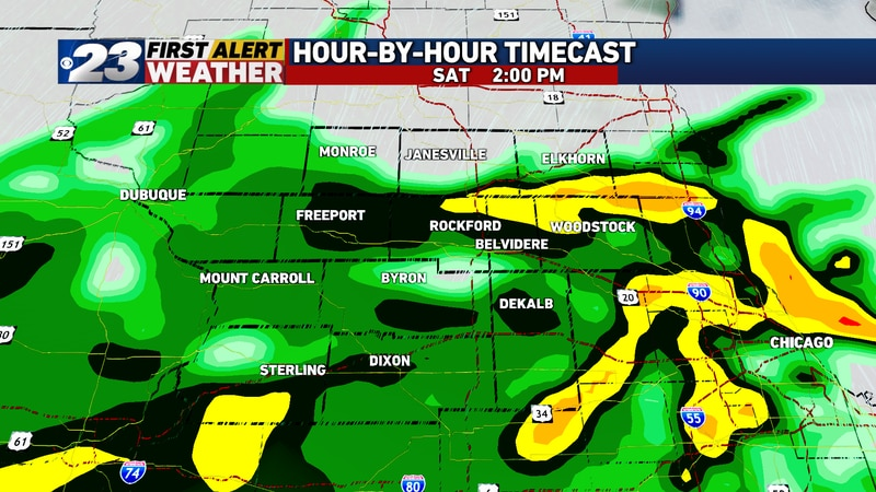 Saturday through Sunday are looking quite soggy with on-and-off waves of rain.