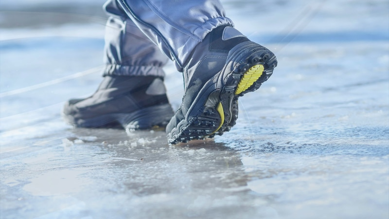 Be sure to walk like a penguin, flat footed if you encounter ice.