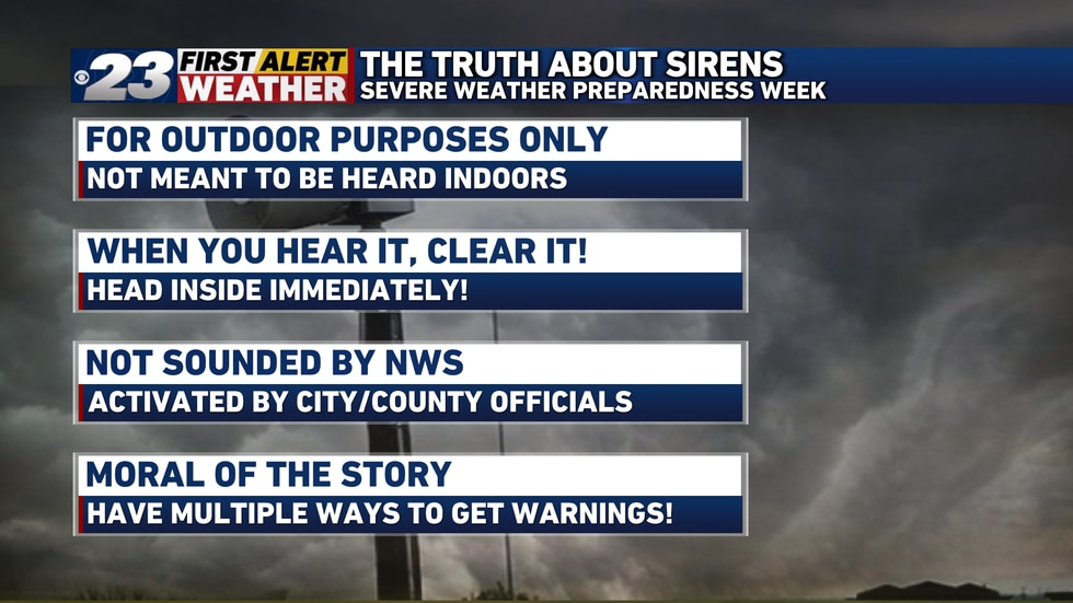 Sirens are useful but be sure to have multiple ways of receiving weather alerts!
