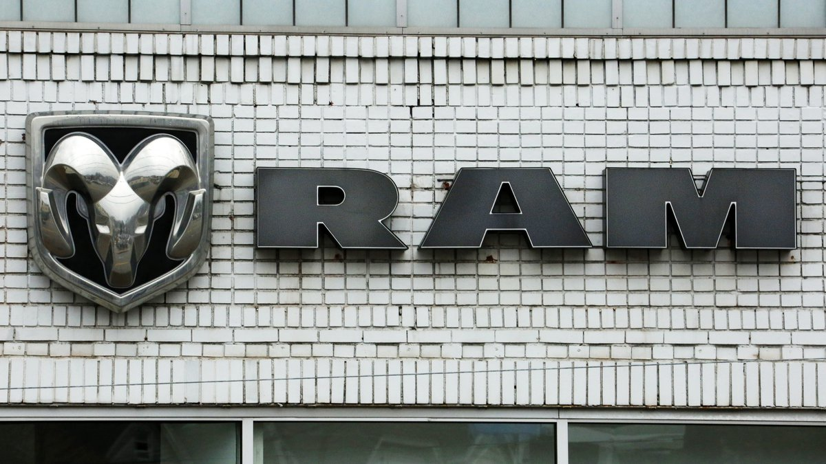 FILE - This Jan. 12, 2017, file photo shows the Ram logo at a Chrysler dealership in...