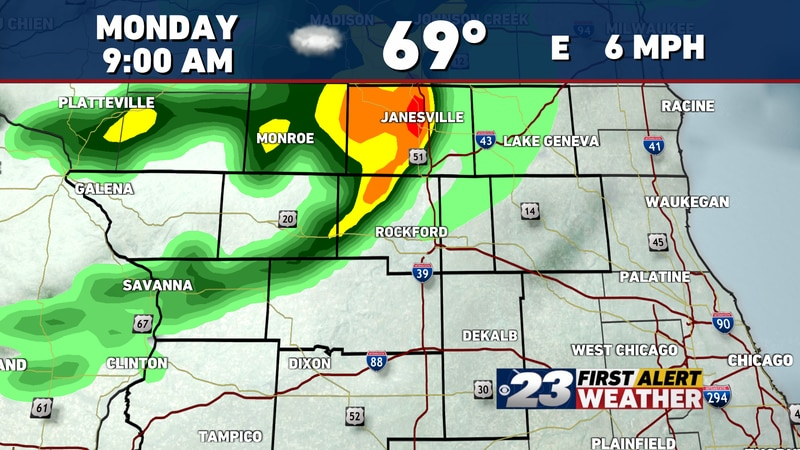 Another cluster of showers and storms may dip through parts of the Stateline Monday morning.
