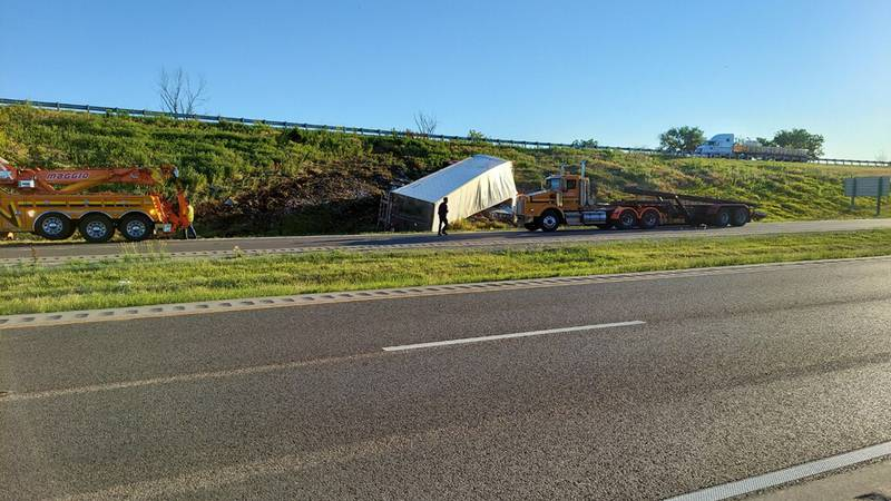 Westbound traffic into Rockford is down to one lane after a semi rollover early Tuesday morning...