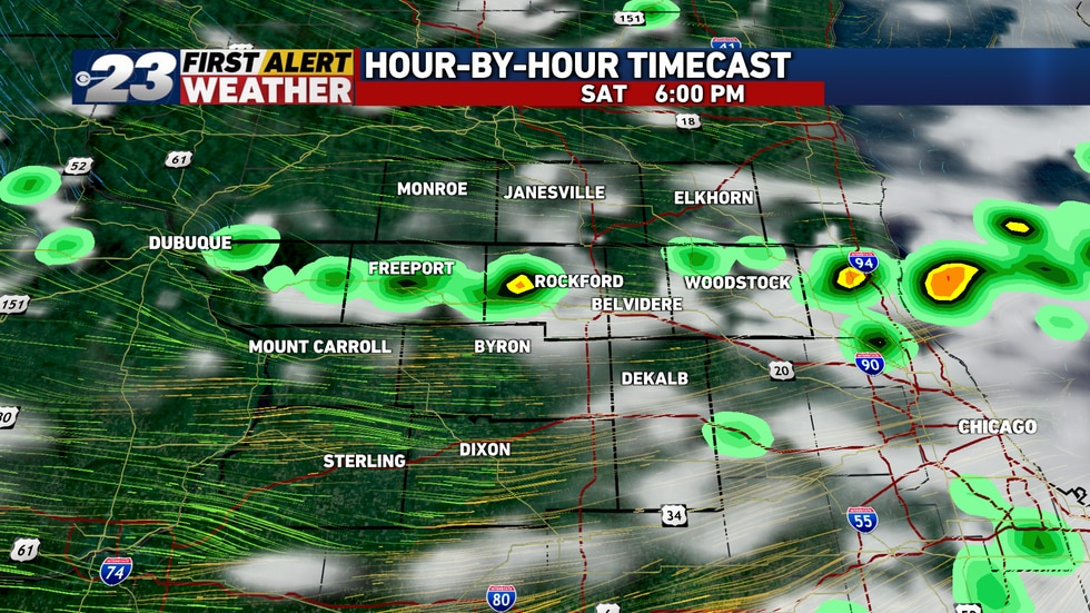 Scattered thunderstorms are expected to develop along a cold front Saturday afternoon and...