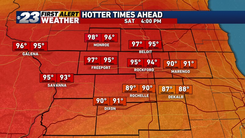 Widespread 90s will be around Saturday, heat index values won't be too much higher.