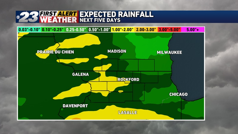 Some rather healthy rainfall totals are possible in spots over the next five days.