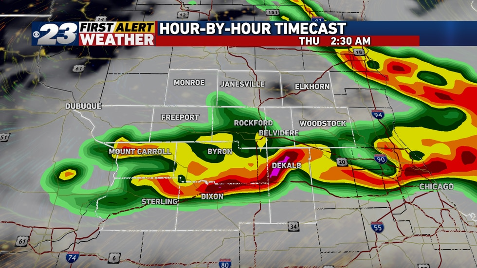 A quick-moving line of storms will move through the Stateline late Wednesday night into...