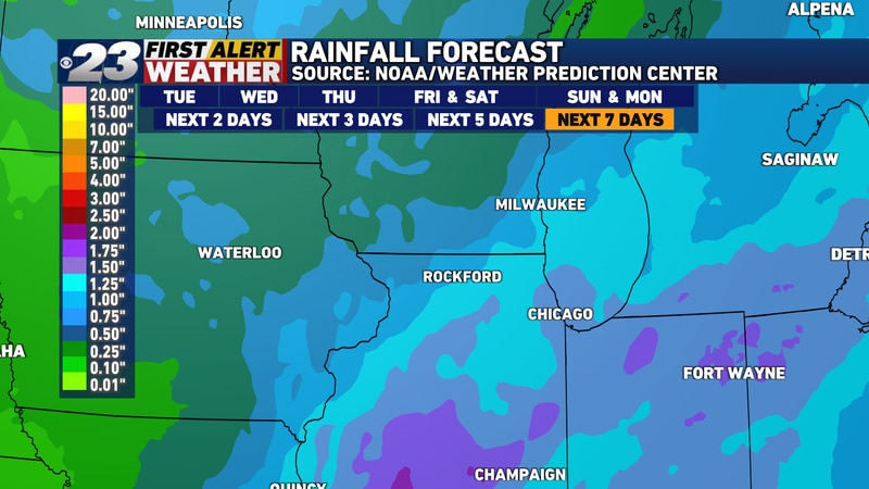 The next three weather systems may very well combine to produce more than an inch of rainfall...