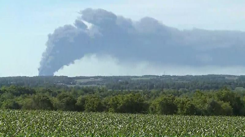 A fire engulfs the Chemtool plant, in Rockton, Ill.