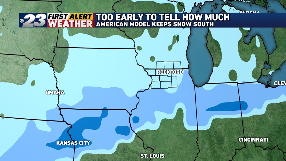 The National Weather Service's GFS model suggests the bulk of the snow will bypass us to the...