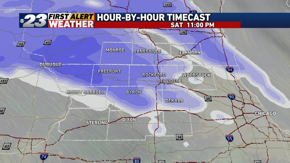 A brief round of snow is in store Saturday evening with some moderate bands later at night.