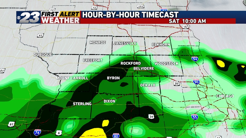 Our next storm system takes aim on the area by mid to late morning Saturday.
