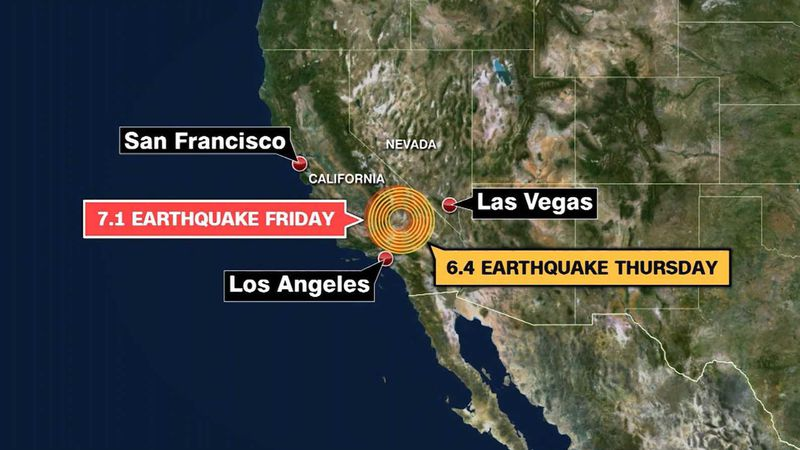 This map shows the location of earthquakes that hit on both Thursday and Friday near...