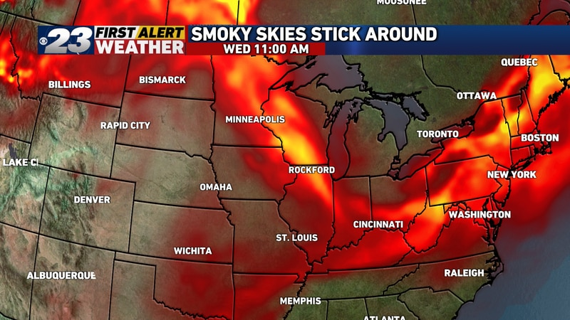 The thickest concentrations of smoke are likely here Wednesday.