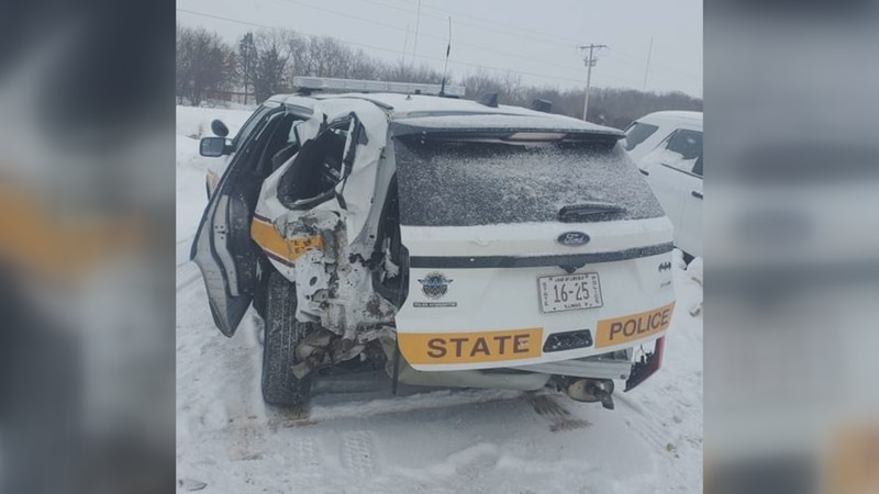 Early Saturday morning a driver struck a state trooper's car while he was assisting a  person.