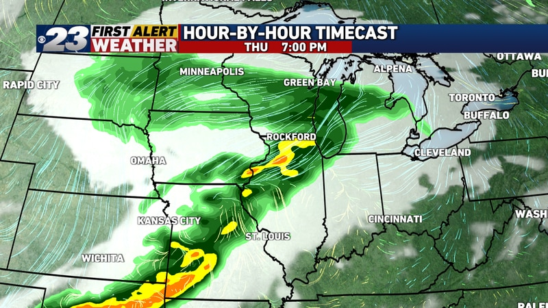 A few thundery downpours are possible early Thursday evening.