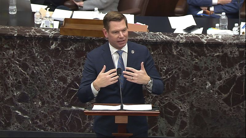 In this image from video, House impeachment manager Rep. Eric Swalwell, D-Calif., speaks during...