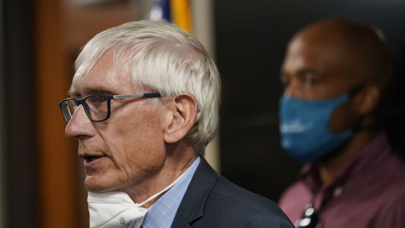 Wisconsin Governor Tony Evers speaks during a news conference Thursday, Aug. 27, 2020, in...