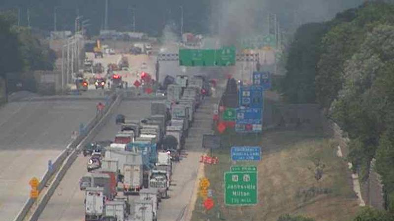 Traffic incident closes I-39/90 in Janesville on Tuesday, July 7, 2021.