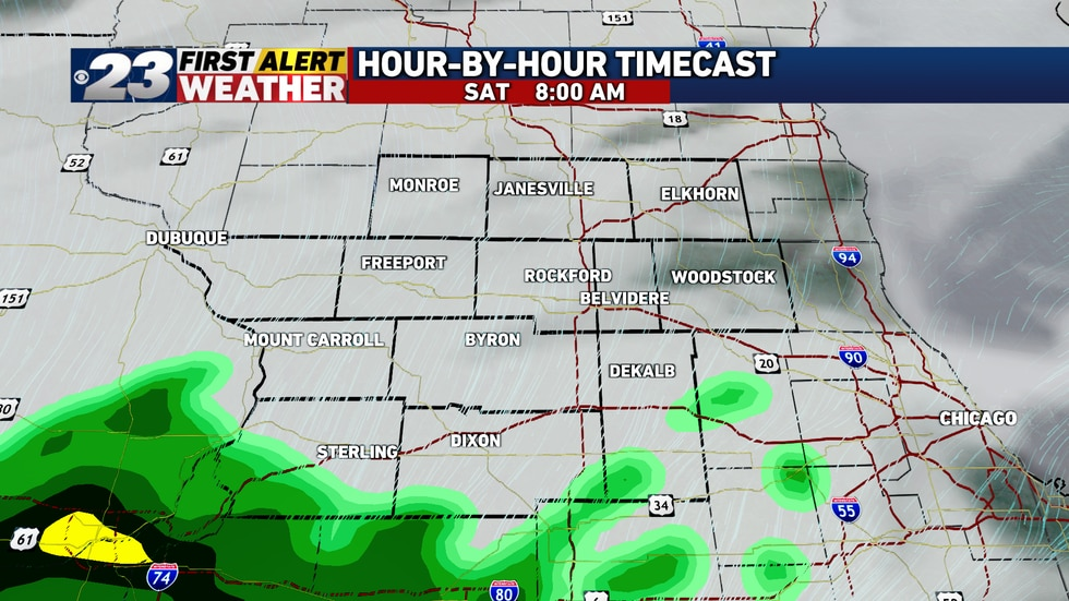 Saturday will start dry with rain moving in from south to north later in the morning.