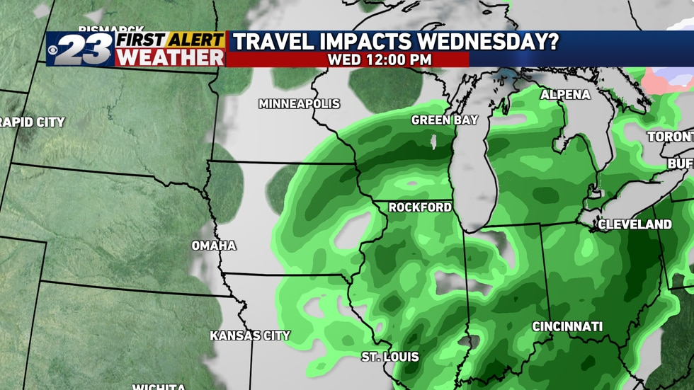 Rain will remain a factor over a large area through Noon Wednesday, though activity here looks...