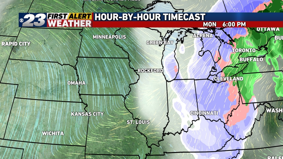 Several hours of snow, including some heavy lake effect snow, appear likely Monday over much of...