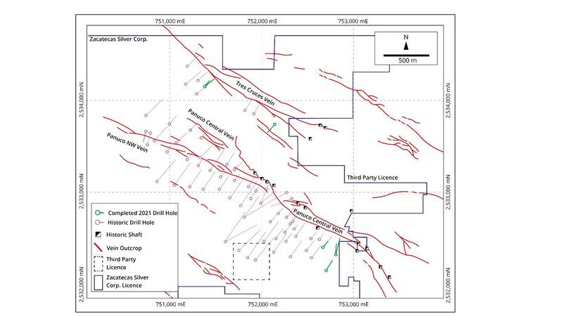 Figure 1: Map of Panuco showing historical drill traces and vein outcrop. The seven angles...