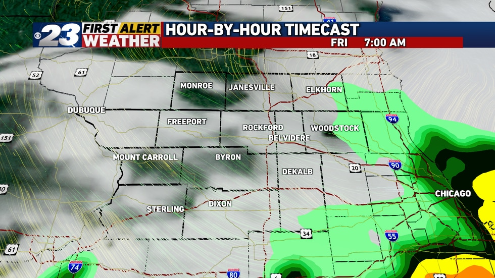 Storms will quickly exit during Friday morning.