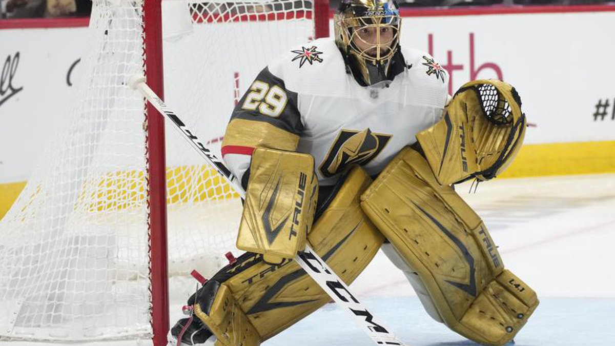 FILE - Vegas Golden Knights goaltender Marc-Andre Fleury (29) plays in the second period of...