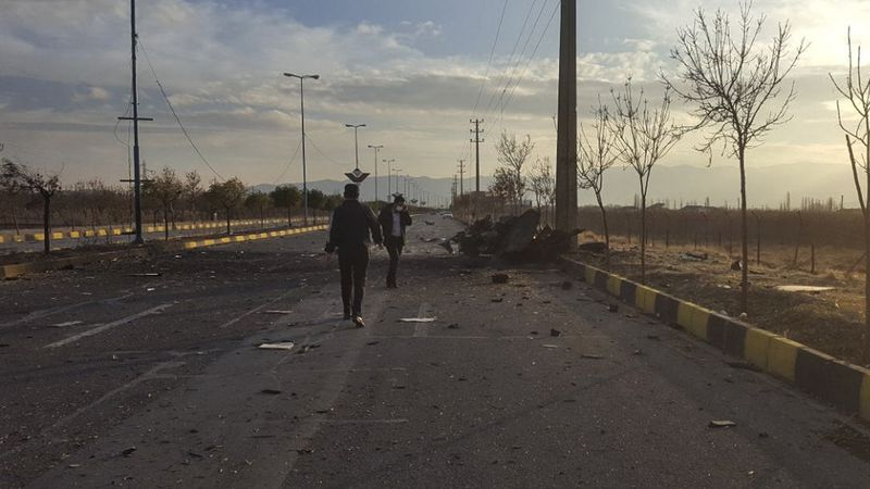 This photo released by the semi-official Fars News Agency shows the scene where Mohsen...