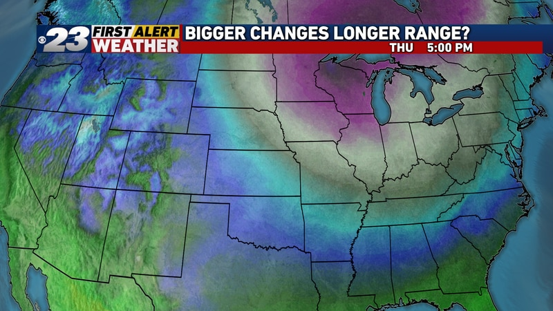 The warmth won't last forever. A much colder airmass is to spill southward next week.