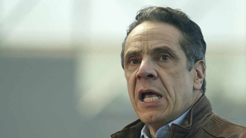 New York Gov. Andrew Cuomo speaks at a vaccination site on Monday, March 8, 2021, in New York.