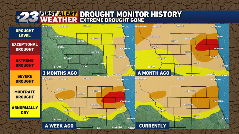 A majority of the Stateline remains in a moderate or in spots, a severe drought.