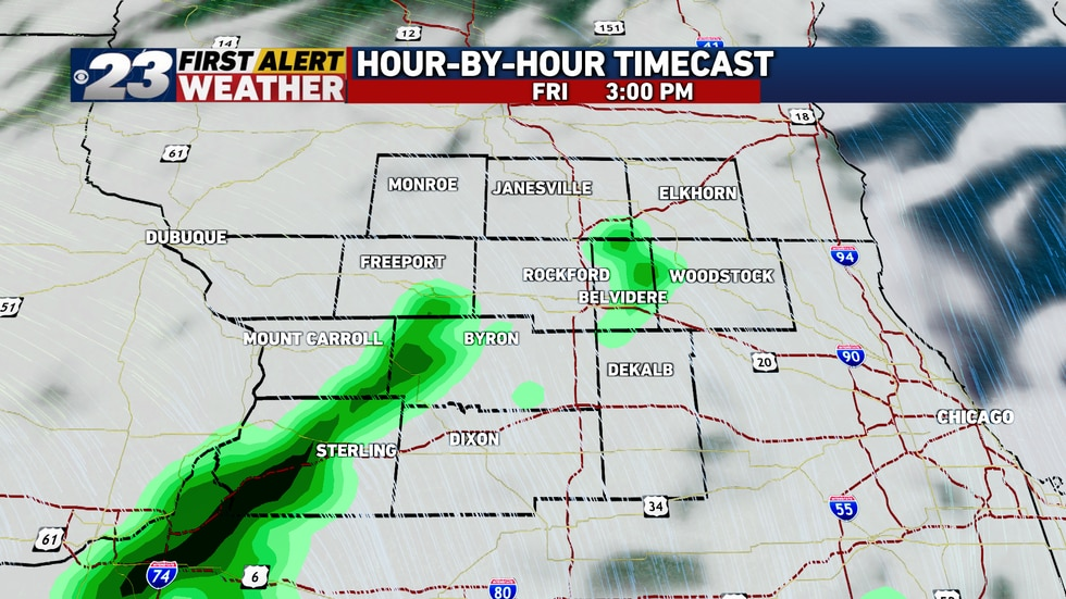 Light showers through early Friday evening are possible on a very scattered basis.