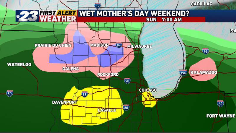 It's possible a few snowflakes can mix-in Sunday morning.